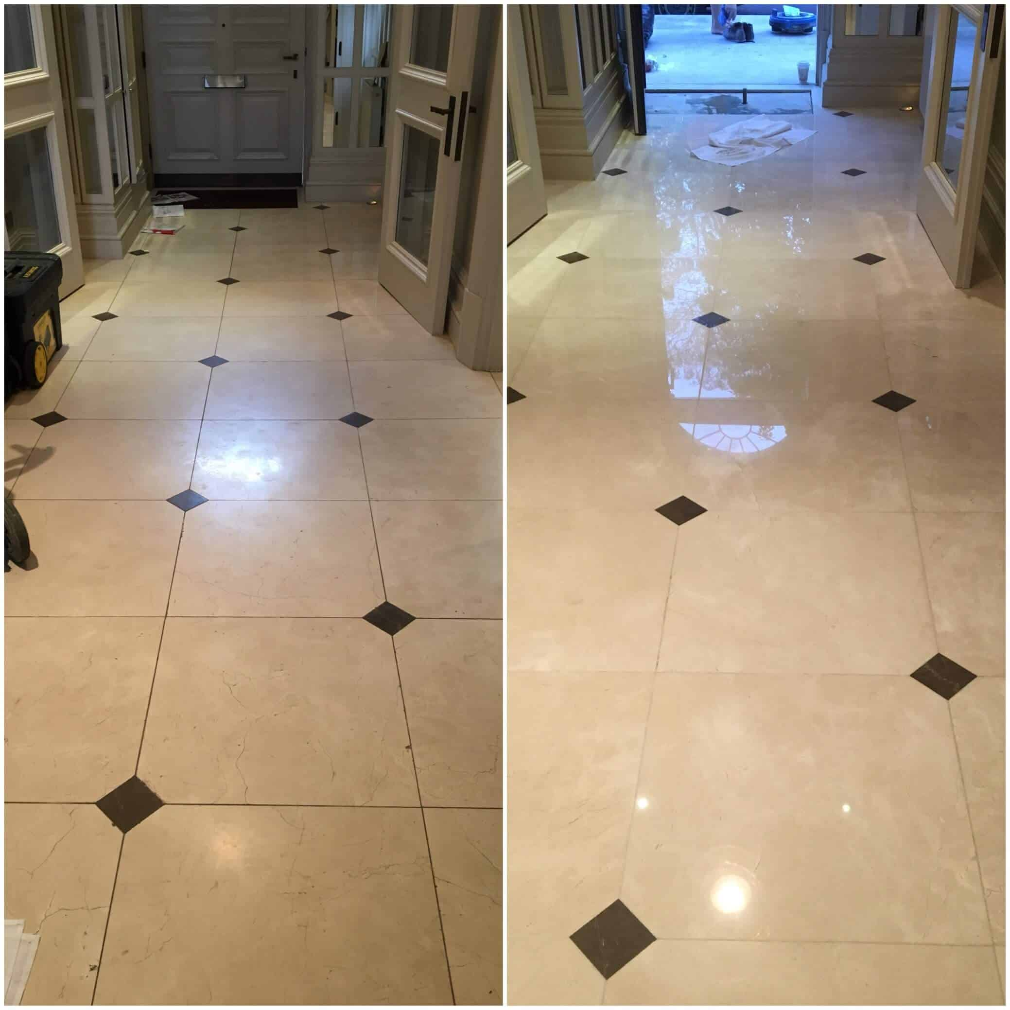 Limestone floor grinding & polishing