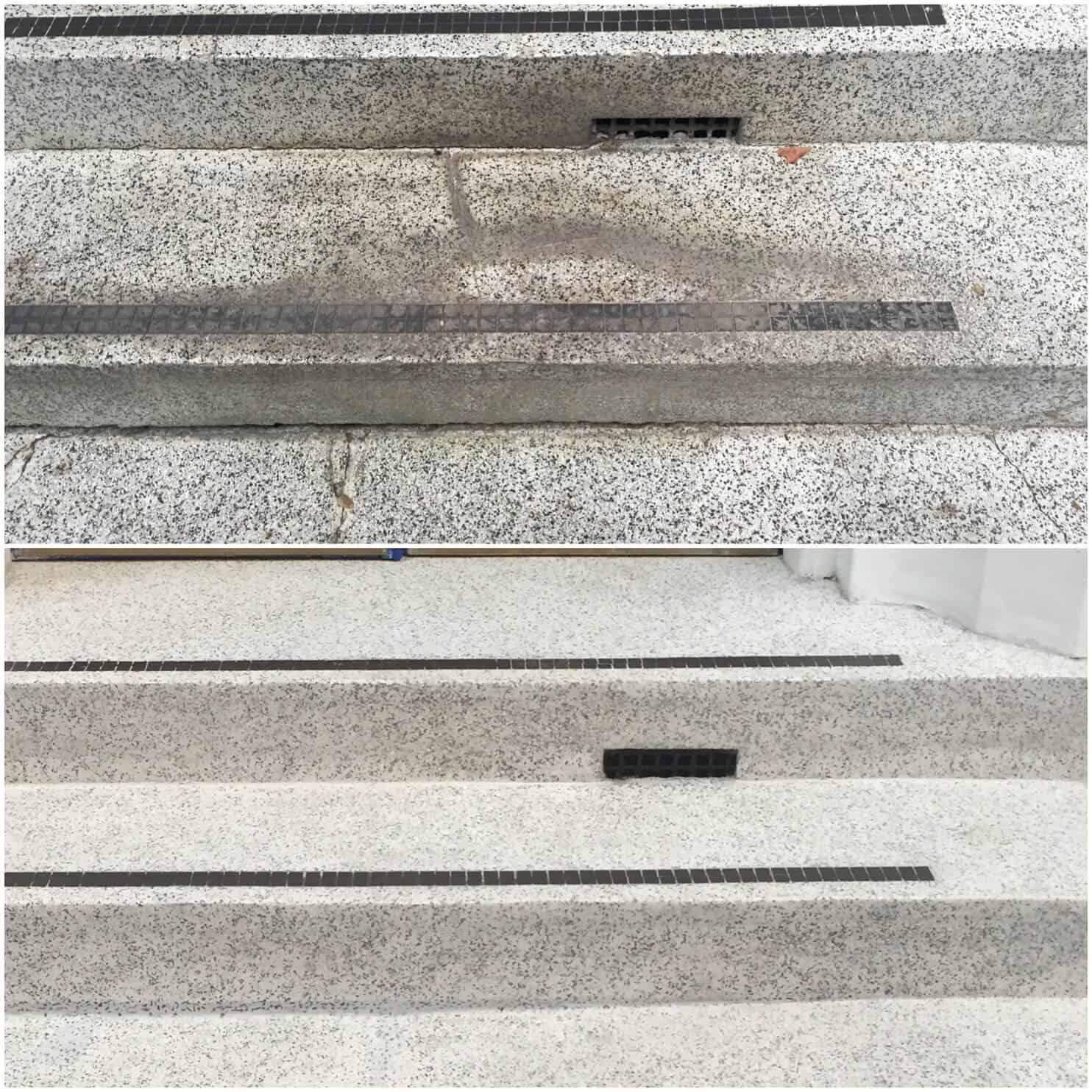 Terrazzo steps grinding