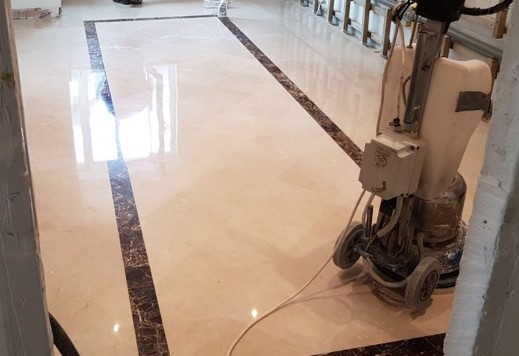 Limestone floor grinding, polishing and sealing