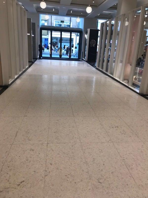 White terrazzo floor restoration