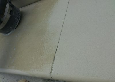 Bush Hammered finish on sandstone steps