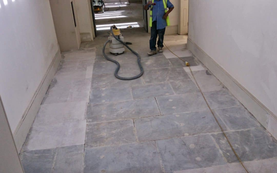 Grinding and sealing sandstone yorkstone