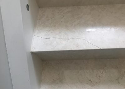 Crack repairs carried out on a Limestone stair