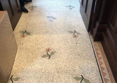 Marble mosaic floor restoration