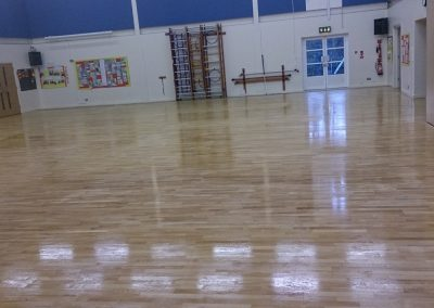 Sanding and polishing Gym Hall floor