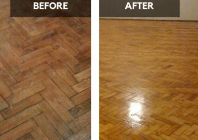 20 years old wooden floor restoration